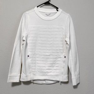 Lululemon White Ribbed Zipper Side Sweatshirt